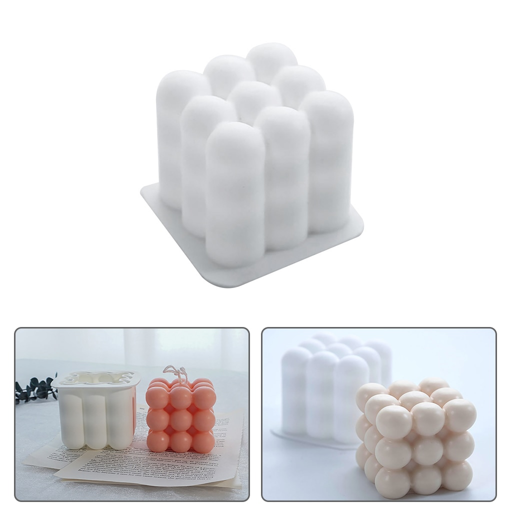 Magic Cube Mousse Cake Mold Bubble Mold Nonstick Mousse Cake Baking Mold Square Candle Wax Silicone Mold DIY
