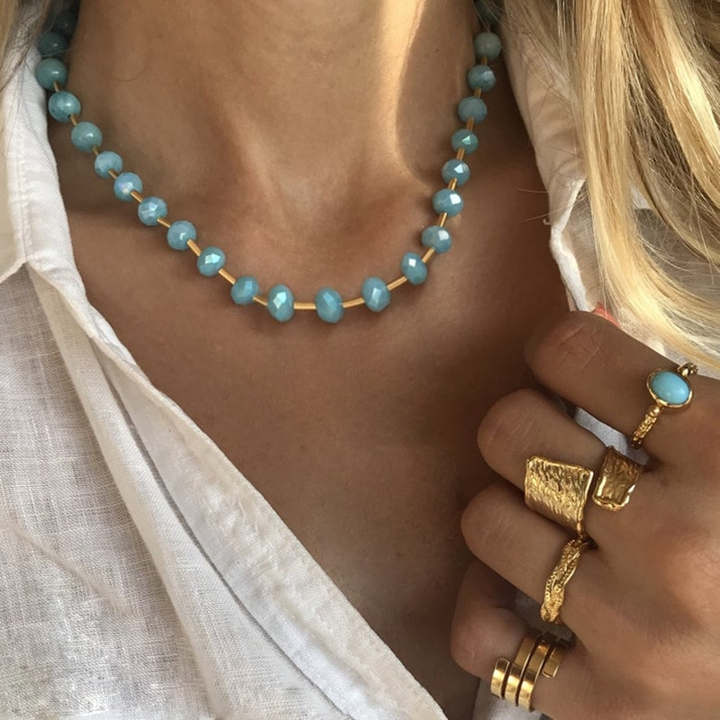2020 Chic verano océano playa Azul cristal gargantilla collar moda mujer Color dorado gargantilla joyería para mujer