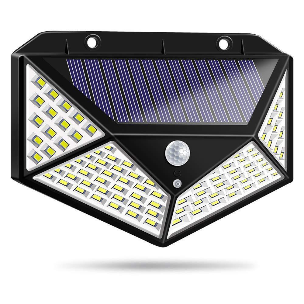 Lámpara de pared con detección de movimiento Solar, lámpara de pared 100LED de cuatro lados, iluminación exterior, lámpara de jardín, lámpara de calle impermeable, lámpara con Sensor