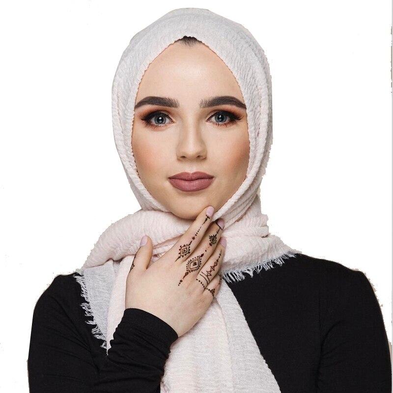 Turbante Hijab arrugado para mujer, pañuelo musulmán de algodón sólido, fuelle islámico para mujer, chal y bufanda instantánea 180*100 CM