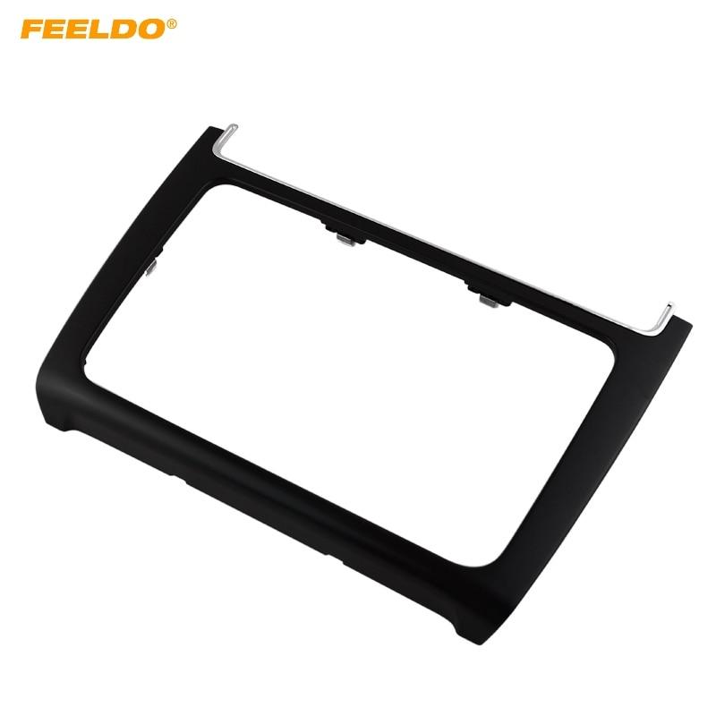 FEELDO 2DIN Black Car refitting DVD frame,DVD panel,Dash Kit,Fascia,Radio Frame,Audio frame For VW POLO 2014-2015 #AM2162