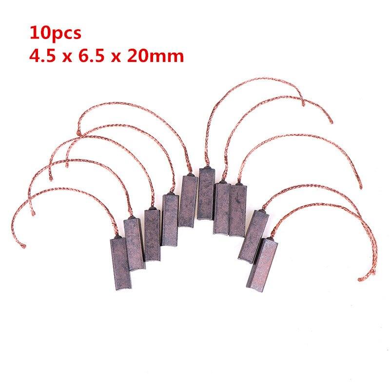 ¡Nuevo! 10 Uds. Cepillos de carbón generador de cables de alambre genérico Motor eléctrico cepillo reemplazo 4,5x6,5x20mm