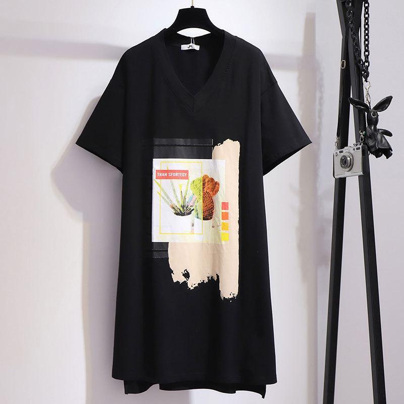 CACNCUT 5XL 6XL Women Summer Large Size Print Dress Black Casual V Neck Big Size Loose T-Shirt Dress 4XL Plus Size Printed Dress