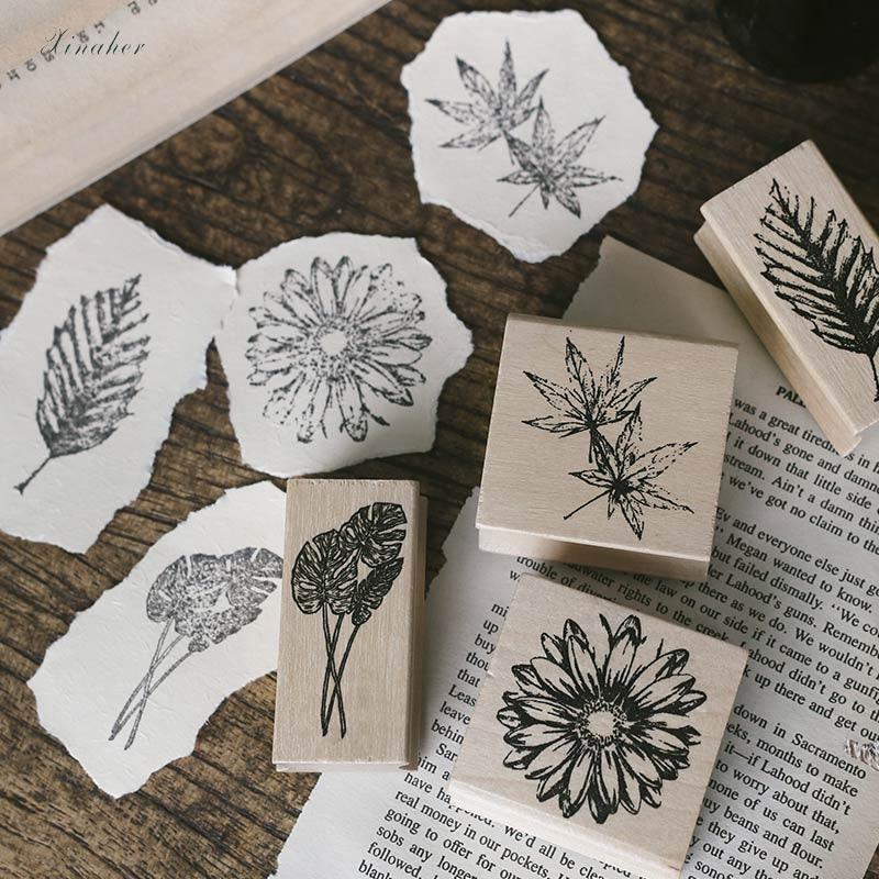Folha de bordo da planta da flor do vintage decoração selo de madeira carimbos de borracha para artigos de papelaria scrapbooking DIY craft carimbo padrão