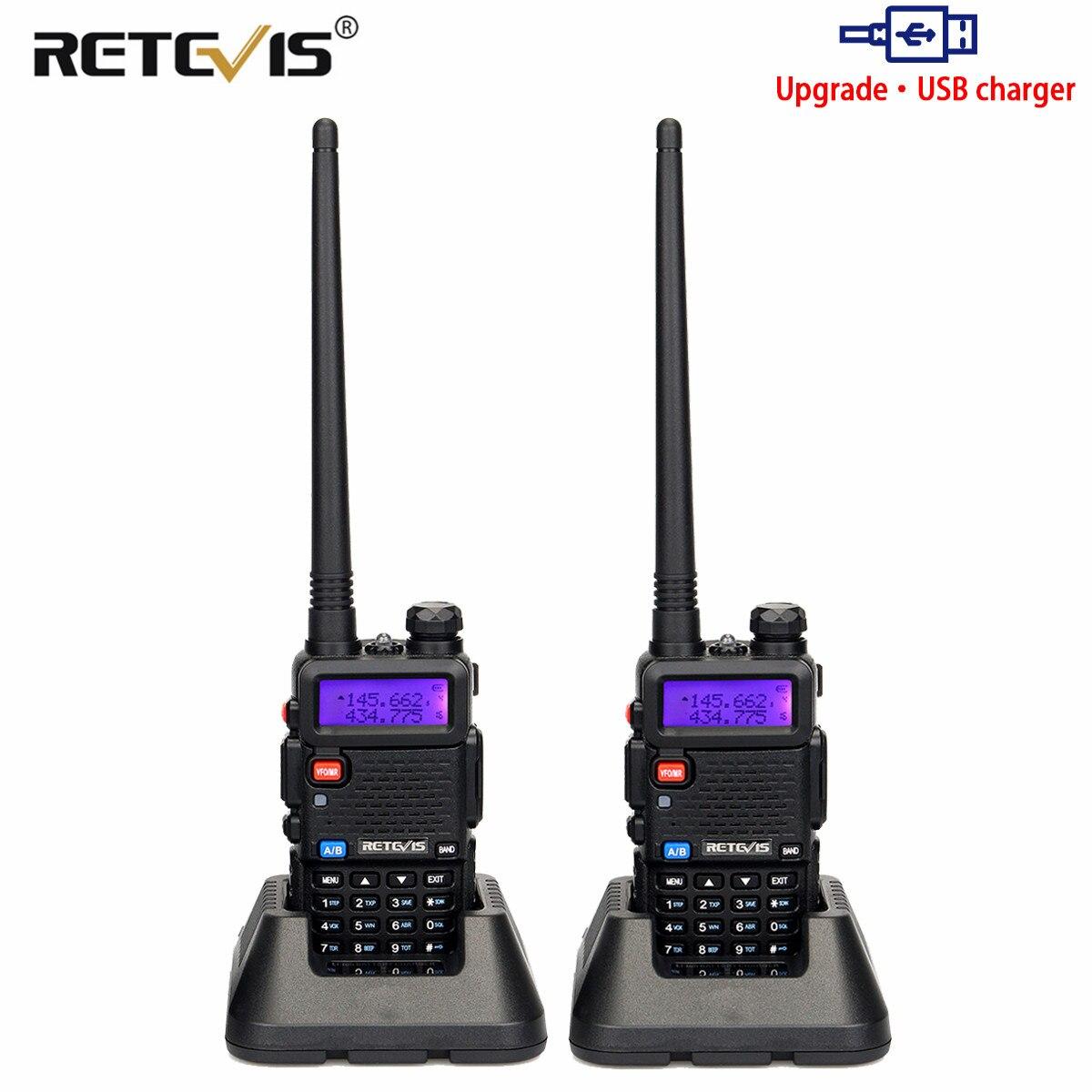 Retevis RT5R اسلكية تخاطب 2 قطعة 5W 128CH USB VHF UHF هام راديو اتجاهين راديو Comunicador للصيد/الادسنس Baofeng UV-5R UV5R