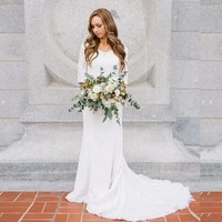 boho wedding dress with long sleeve v neck lace mermaid white ivory beach bridal gown wedding gown 2020