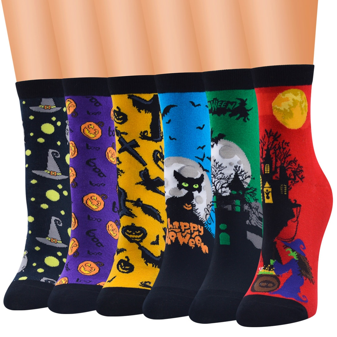 One Size Fit Most Latest Fashion New Style Combed Cotton Knitted Halloween Socks For Women