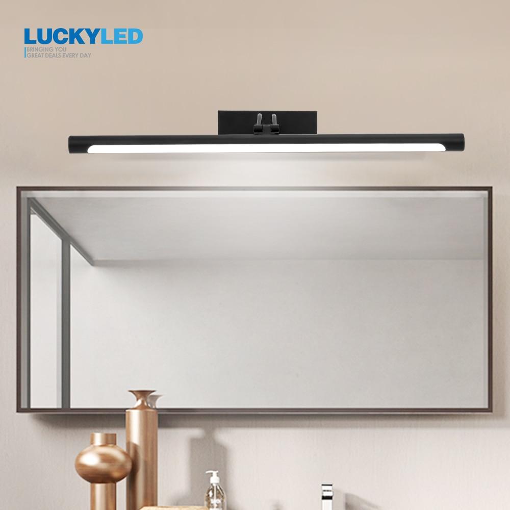 LUCKYLED الحديثة أدى الحمام مصباح مرآة ضوء 12w 55 سنتيمتر خمر الجدار مصباح أسود الفضة الغرور مصابيح الشمعدان الجدار ضوء