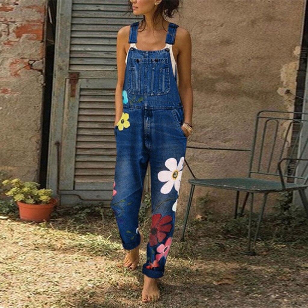 Rompers Womens Jumpsuit Stylish Flower Jeans Strap Overalls Women Vintage Girls Denim Bib Pants Streetwear Macacao Feminino