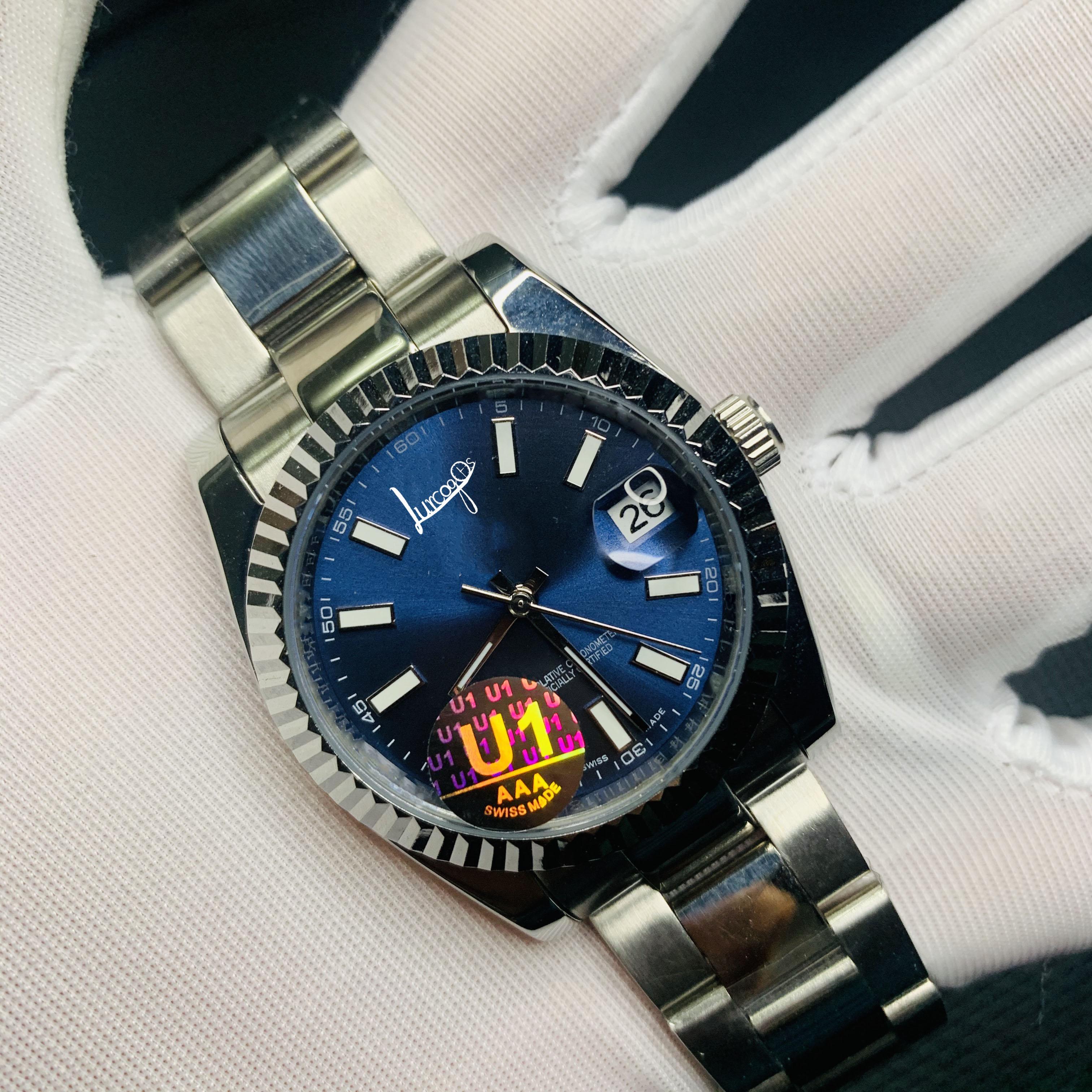 u1 factory luxury watch blue dial 2813 automatic winding movement AIR KING watch sports automatic winding watch sapphire watch