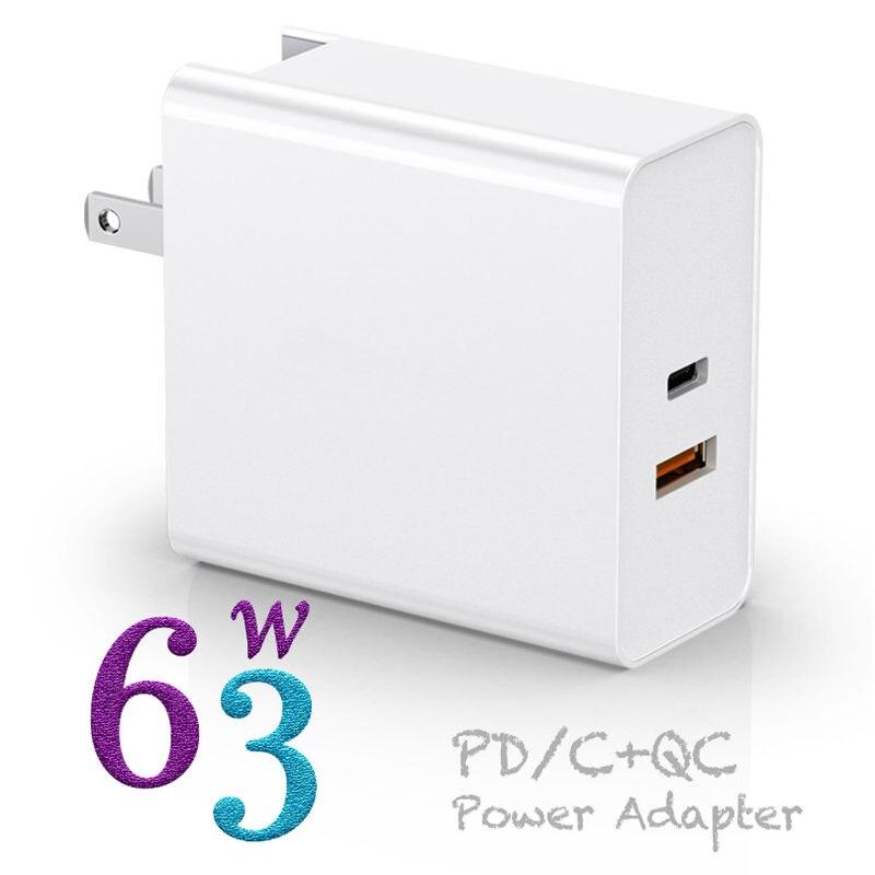 المزدوج ميناء 63 واط USB-C شاحن السفر PD 45 واط و QC3.0 18 واط تهمة سريعة لهواوي p20/30 ماك بوك باد آيفون سامسونج s10 +