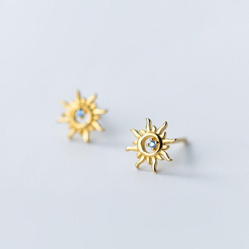 925 plata esterlina lindo sol con Azul Pequeño Zirconia cúbica piedra pernos pendientes oro pendientes de Color joyería para las mujeres