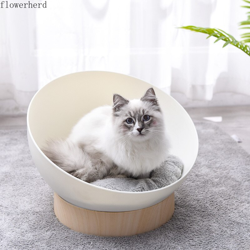 Creativa arena para gatos semiabierta de grano de madera de plástico, caseta semiesférica para mascotas, gatos, cachorros, productos para casa, cesta para gatos y mascotas