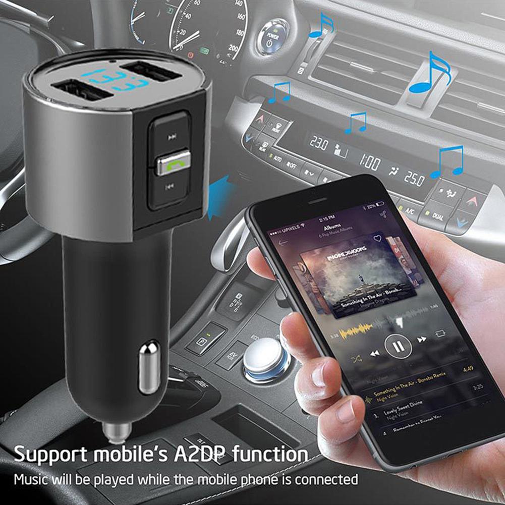 Portátil 5v 3.4acar carro duplo usb carregador bluetooth kit sem fio adaptador de rádio mp3 player para xiaomi samsung iphone 11