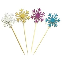 10pcs nowflake cupcake toppers kids christmas cake supplies accessories baby girl frozen birthday party decorations