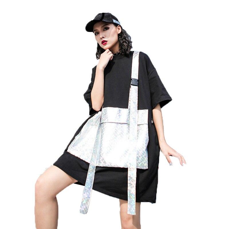 QING MO-تي شيرت نسائي قصير الأكمام برقبة دائرية وجيب كبير ، ملابس شخصية ، قطن أسود ، ZQY010