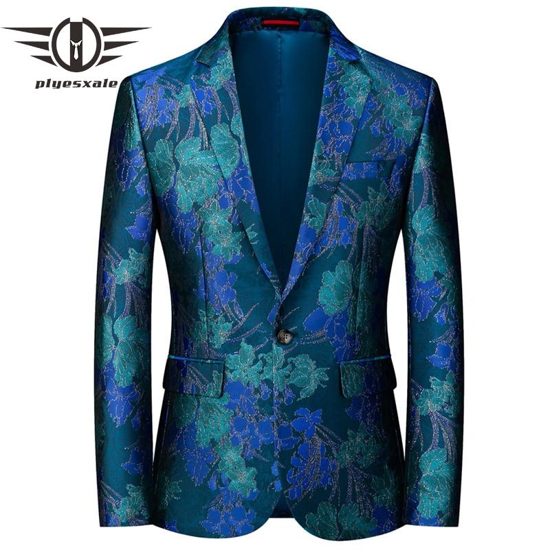 Plyesxale 2020 Prom Men Blazer Floral Print Casual Slim Fit Suit Jacket Male Blazers Plus Size M-6XL