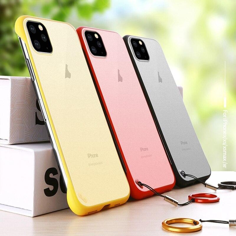 Ultra-fina Caso de Telefone Sem Fronteiras Para o iphone 11 Pro Max X XR XS MAX Coque Anel Matte Rígido PC capa Case Para iPhone 4 6 6S 7 8 Plus