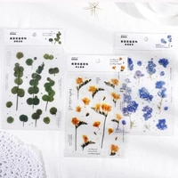 10 designs choose 1 sheet plants flowers pvc decorative notebook diary stickers