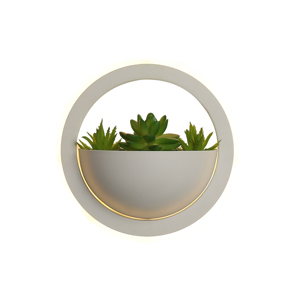 Led Wall Light Atmosphere Light Bedroom Decor Round heart minimalist modern corridor lights Iron + Acrylic + simulation plants enlarge