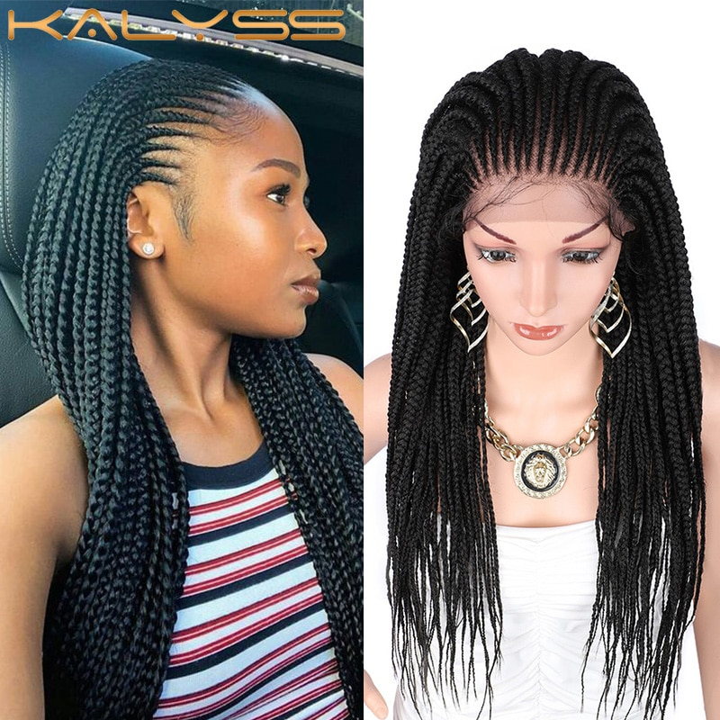 Kalyss 29 inches 13x5 Lace Parting Hand Braided Wigs Synthetic Lace Front Wig for Women with Baby Hair Twist Braids Cornrow Wigs