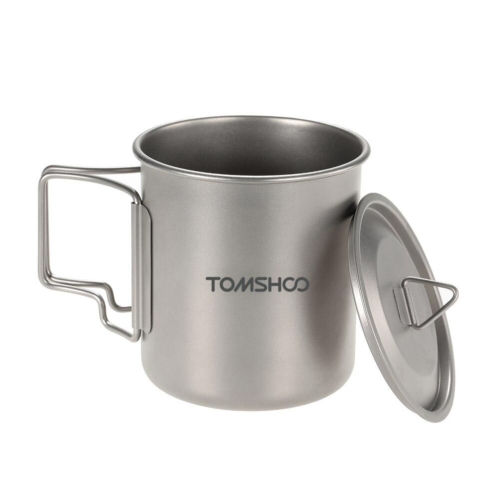 Taza de titanio ultraligera al aire libre portátil Picnic Camping senderismo turista taza de agua con mango plegable equipo de cocina