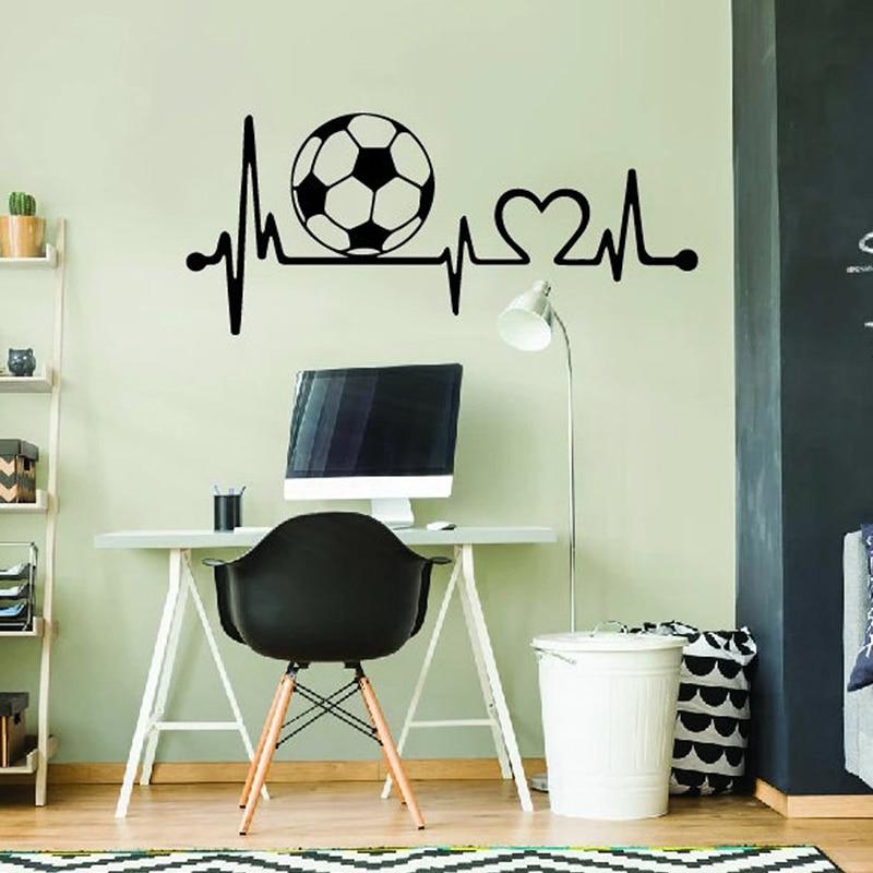 Freqüência cardíaca de futebol-arte da parede, adesivo de vinil da parede dos esportes, murais do decalque dos esportes para o presente de aniversário do quarto do menino e947