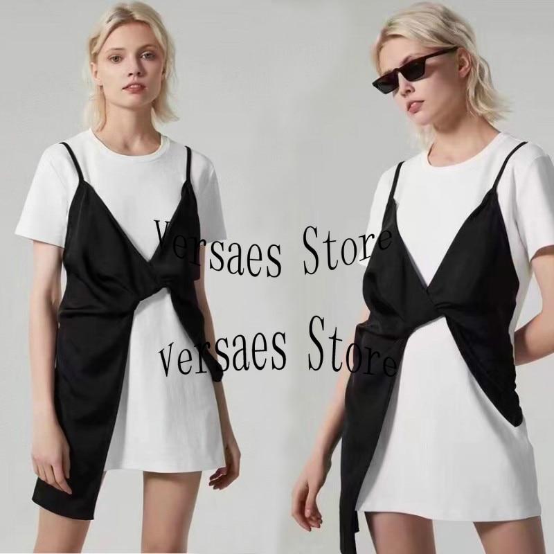2021 luxury brand contrast stitching women's leisure straight skirt fashion temperament round neck short sleeve T-shirt dress