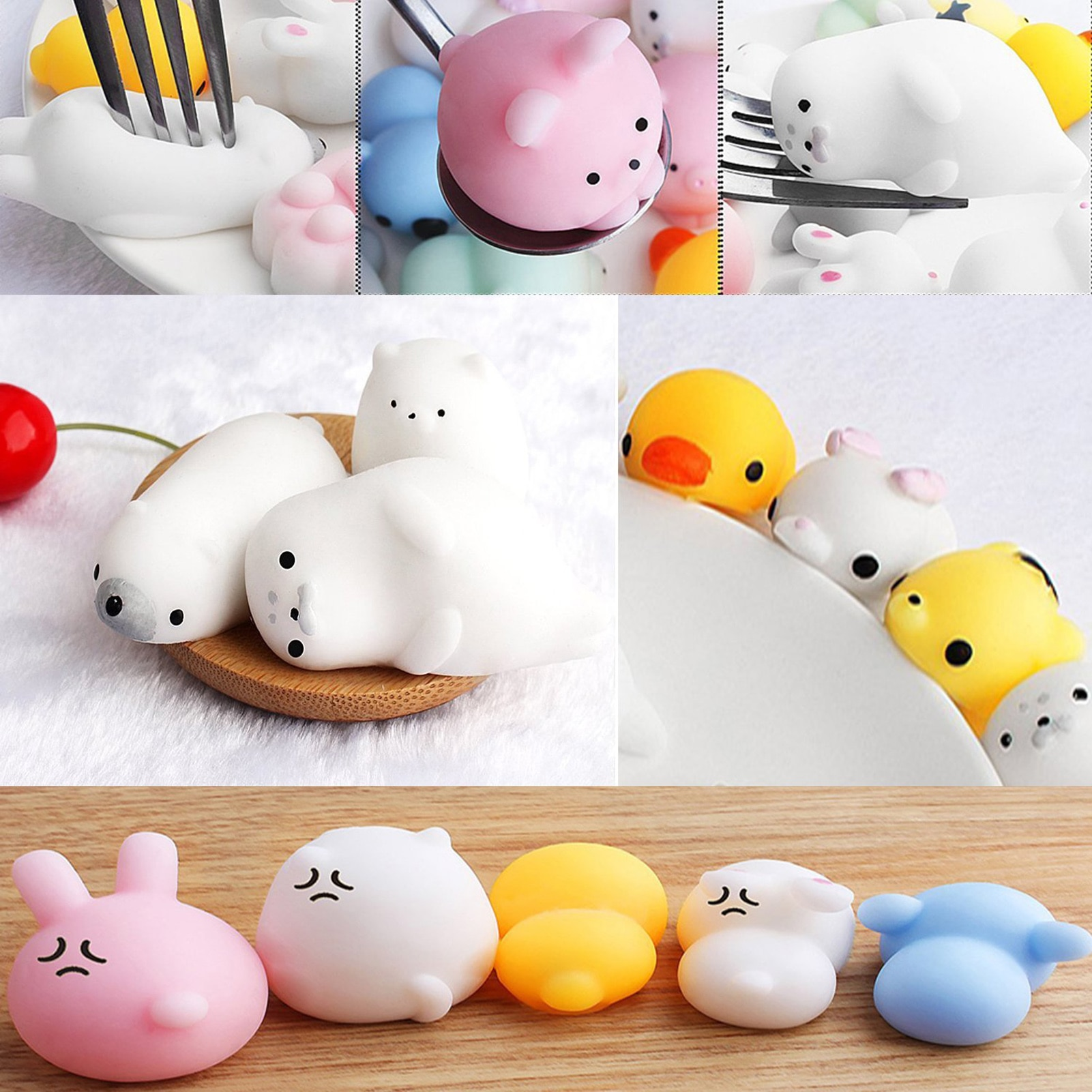 24 Pcs Cute Cat Mini Squishy Antistress Ball Squeeze Rising Soft Sticky Stress Relief Funny Gift Toys for Kids Adult enlarge