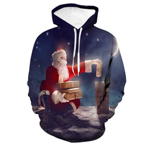 Unisex Santa Claus Christmas Gifts 3D Digital Print Loose Hooded Sweater Pullover Women Men New Year Baseball Sweatshirt Hoodie