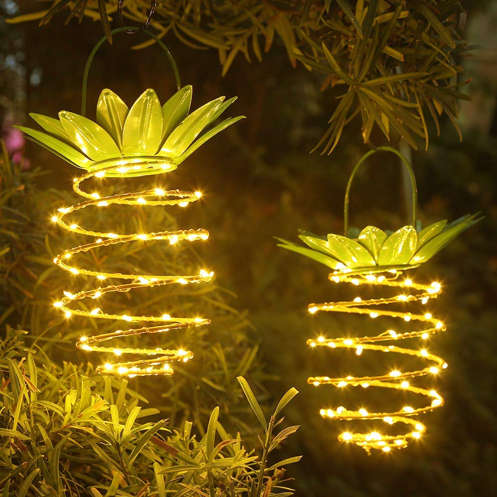 Luz Solar colgante de 25 LED, luz Solar con forma de piña linterna Solar resistente al agua para jardín, Patio, césped, balcón, lámpara Solar