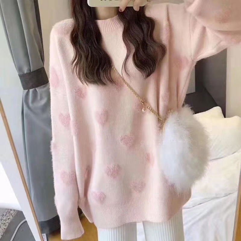 Love sweater round neck pullover sweater 2021 spring and autumn new loose trend gentle student sweater jacket net red hot sale enlarge
