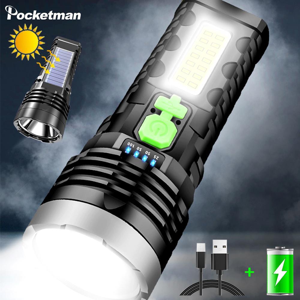 50000LM Solar LED Flashlight USB Charging Multifunctional Flashlight Waterproof Torch Built-in Battery Hand Light Camping Light