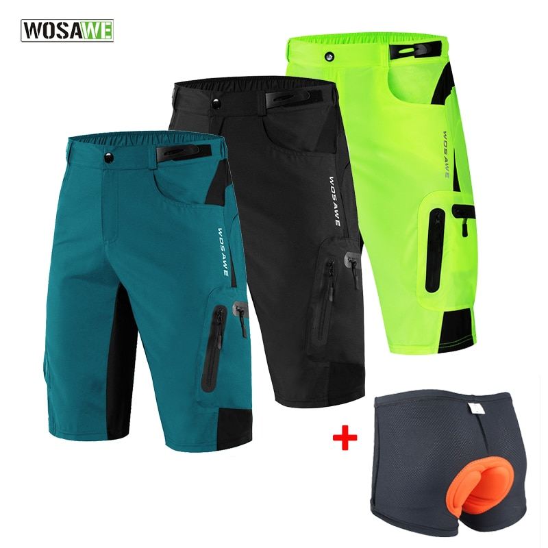 WOSAWE Men Padded Baggy Cycling Shorts Reflective MTB Mountain Bike Bicycle Riding Trousers Water Re