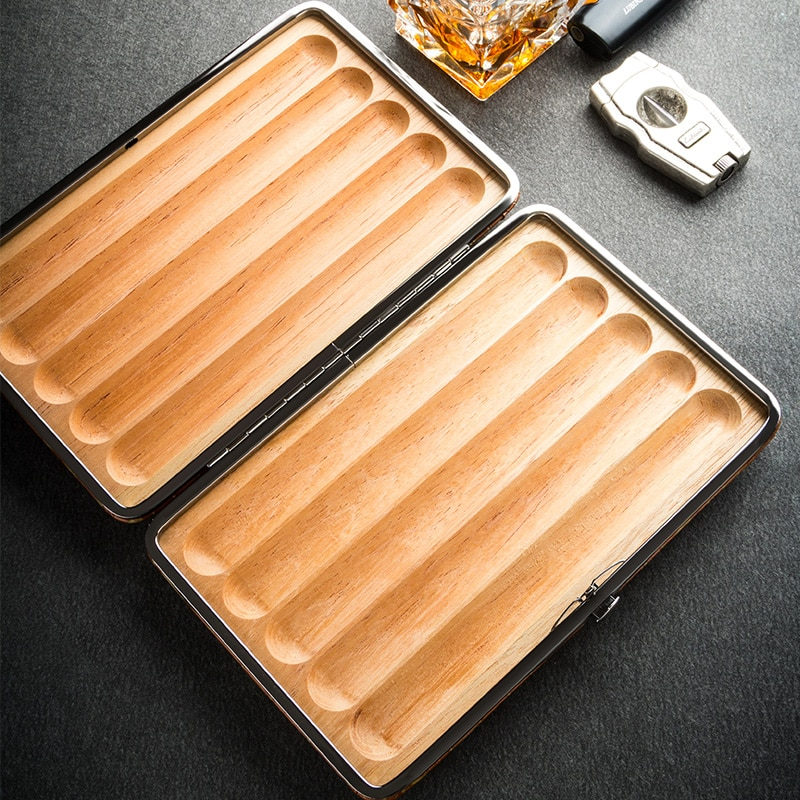 Lubinski Cow Leather Cedar Wood Travel Cigar Case Holder Humidor Set For Cohiba Cigar Tobacco Smoking Tool enlarge