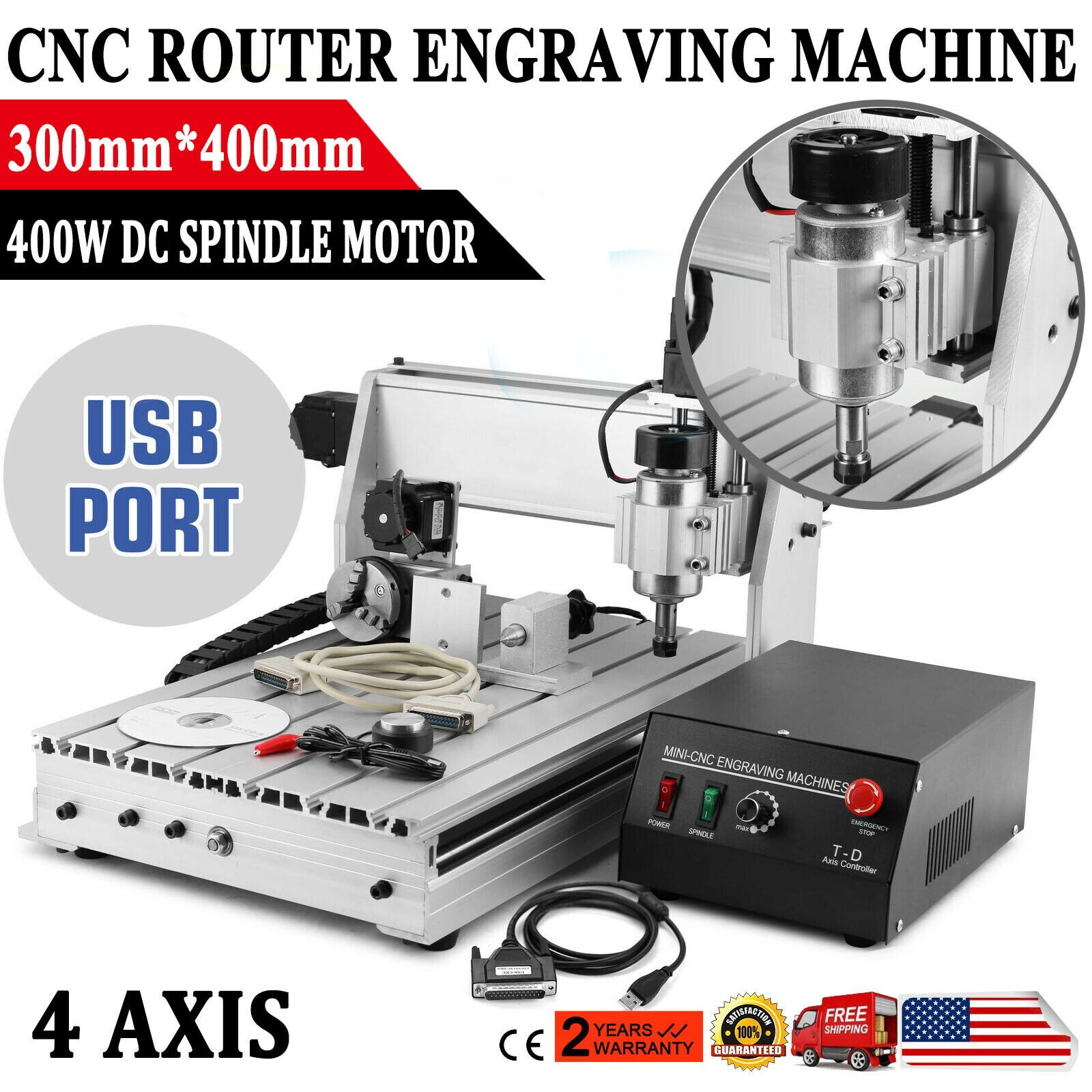 CNC Router Engraving Machine Engraver T-SCREW 3040T 4 Axis Desktop Wood Carving DIY Crafts Cutter Advertising Signs Cut Machine