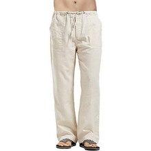 Hommes printemps été mode couleur unie coton lin couleur unie taille moyenne poches Patchwork décontracté ample mâle cordon pantalon