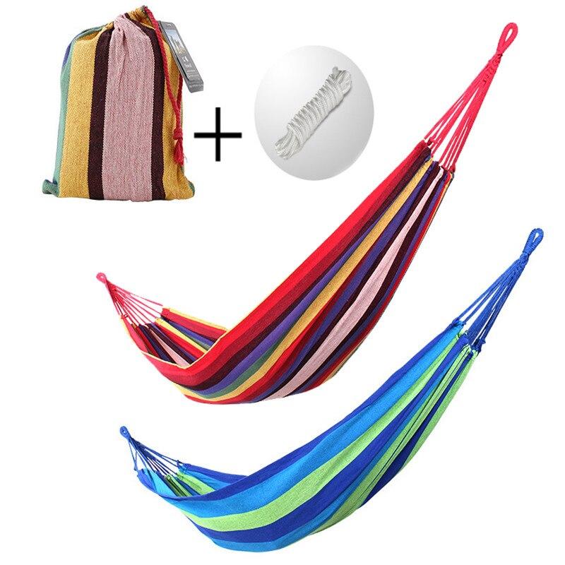 Портативный гамак, двойной гамак из толстой холщовой ткани, подвесное уличное качели для кемпинга и сада, 280 Х80 см
