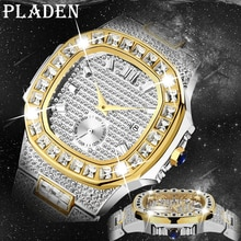Hot Luxury Brand Watches Men Wrist Top Analog Auto Date 18K Gold Male Watch Hip Hop Iced Out Fashion