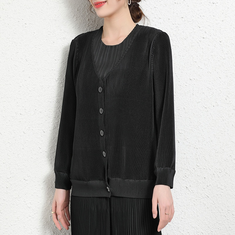 Long Sleeve Cardigans For Women 45-75kg Spring New Elastic Miyake Pleated V-Neck Loose Single Breasted Solid Colour Plus Size enlarge