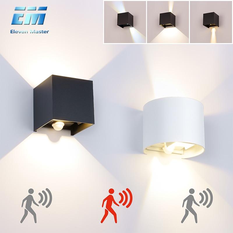 Ao ar livre à prova dwaterproof água ip65 lâmpada de parede 7 w/10 w varanda luz AC90-260V jardim lâmpada decoração sensor movimento noite parede luz zbw0002