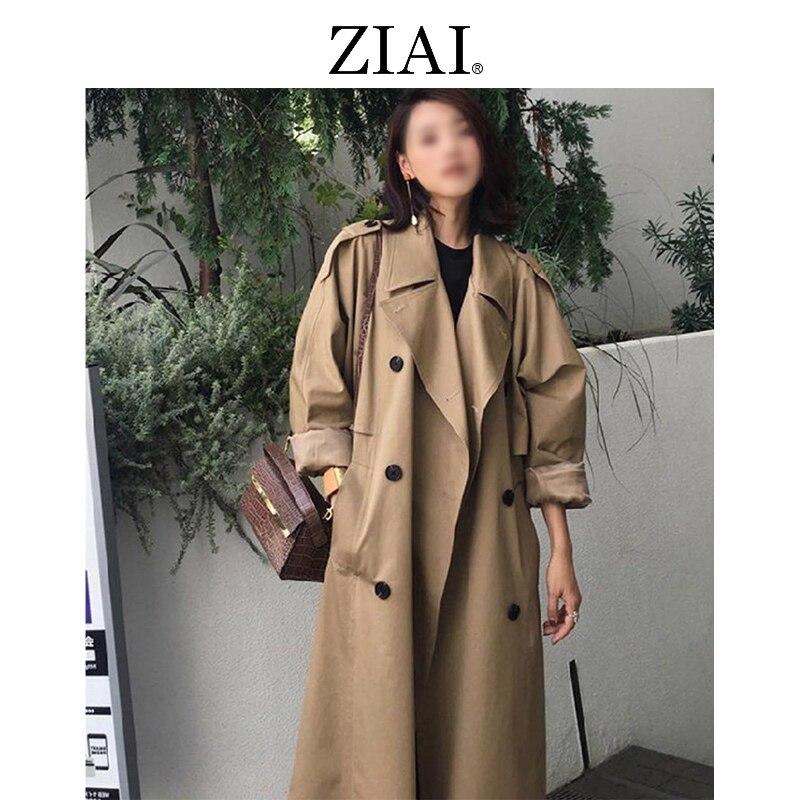 ZIAI 2020 hotsale women spring long light trench coat warm lapel female windbreaker long sleeve lady
