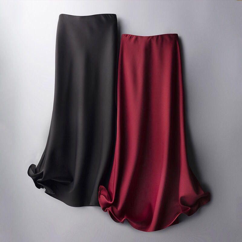 elegant high waisted solid color midi skirt for women Women's Silk Skirts Satin Solid High Waisted Long Midi Skirt Female Elegant Office Ladies Side Zipper A-line Skirt Summer Women