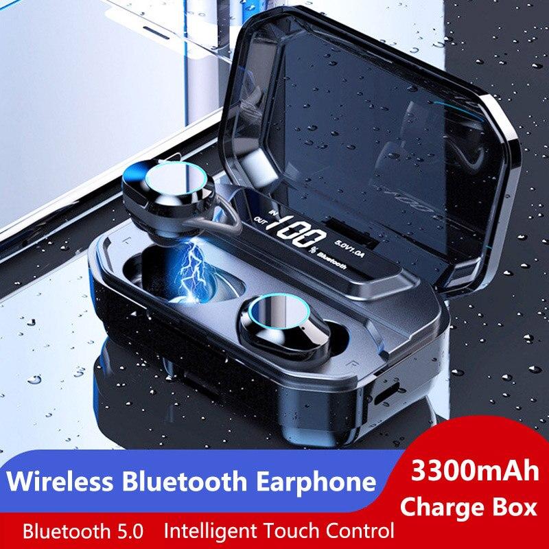 Fones de Ouvido à Prova Fones de Ouvido com 3300 Bgreen Multi-connnection Bluetooth Dtwágua Amh Power Bank Display Led Digital 5.0 Tws