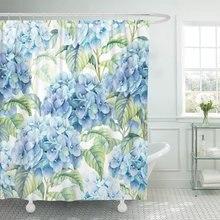 푸른 꽃의 꽃 수국 수채화 빈티지 아름다운 샤워 커튼 방수 폴리 에스터 직물 72x72 인치