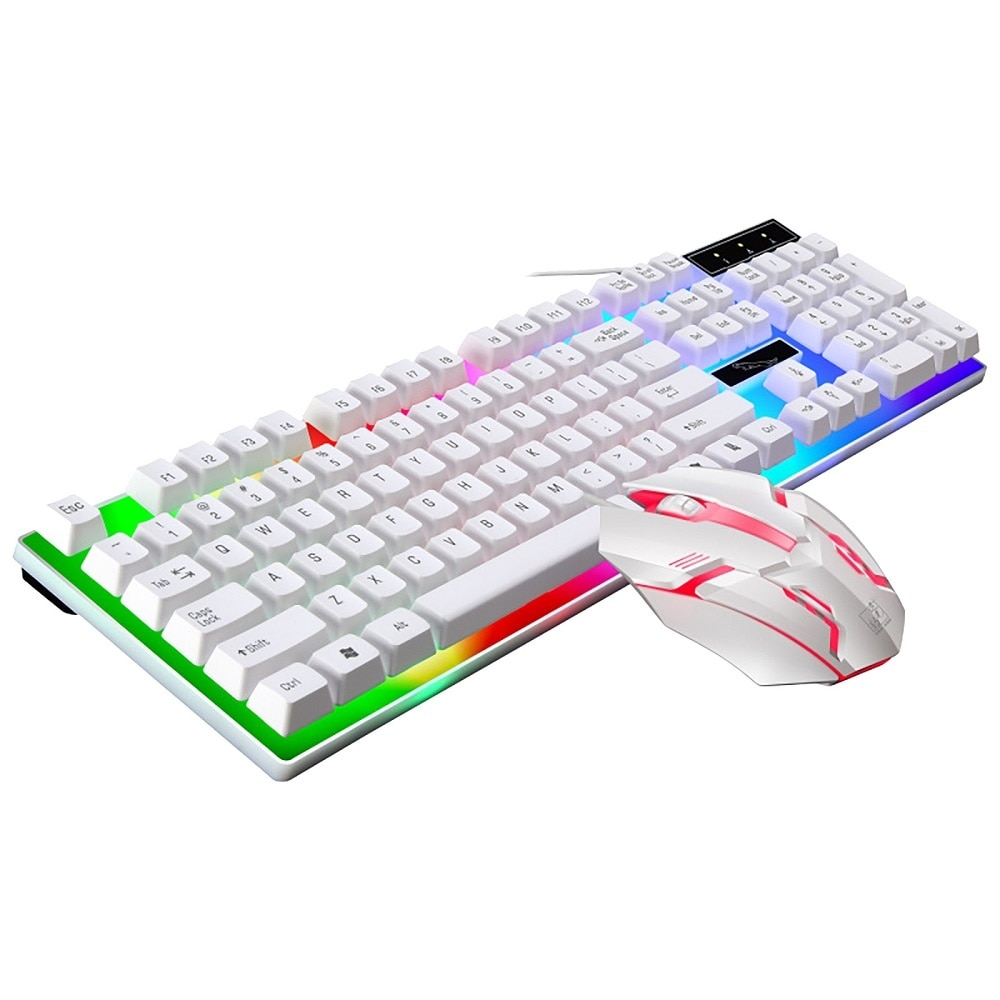White Black Backlit Wired Keyboard Mouse Set Gaming Keyboard Gamer Mouse tripod Keyboard Kit Home Office PC Laptop Flash sale