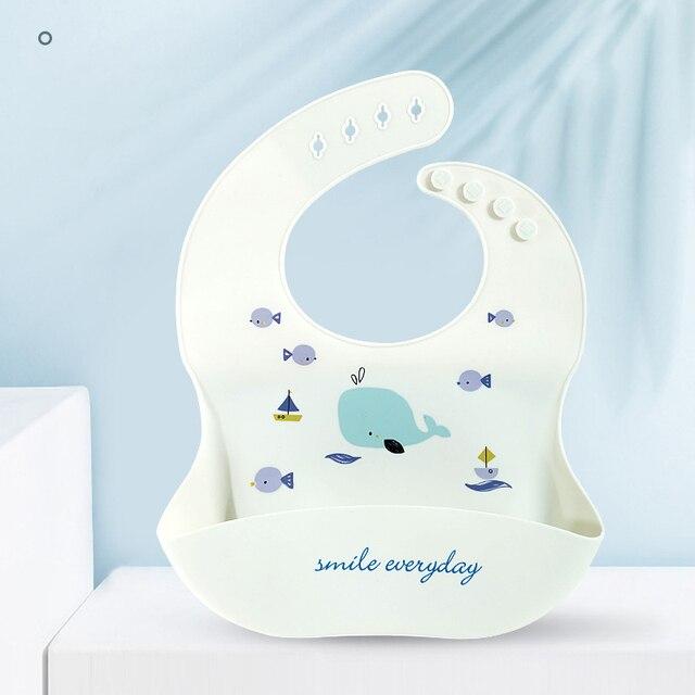 1pc Silicone Bibs For Kids Newborn Baby Feeding Tableware Waterproof Baby Bibs For Toddler Breakfast Feedings 8