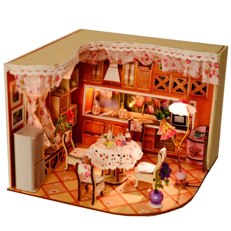 DIY casa de muñecas de madera Artesanías hechas a mano casa creativa muebles de miniatura Kit de luz LED casa de muñecas modelo de edificio de montaje de Juguetes