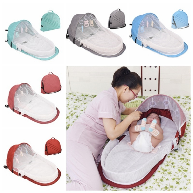 Travel Beds Sun Portable For Baby Foldable Baby Bed Travel Protection Mosquito Net Breathable Infant Sleeping Basket With Toys