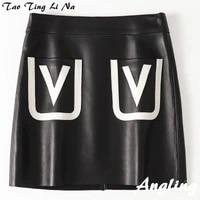 tao ting li na new fashion genuine real sheep leather skirt h43